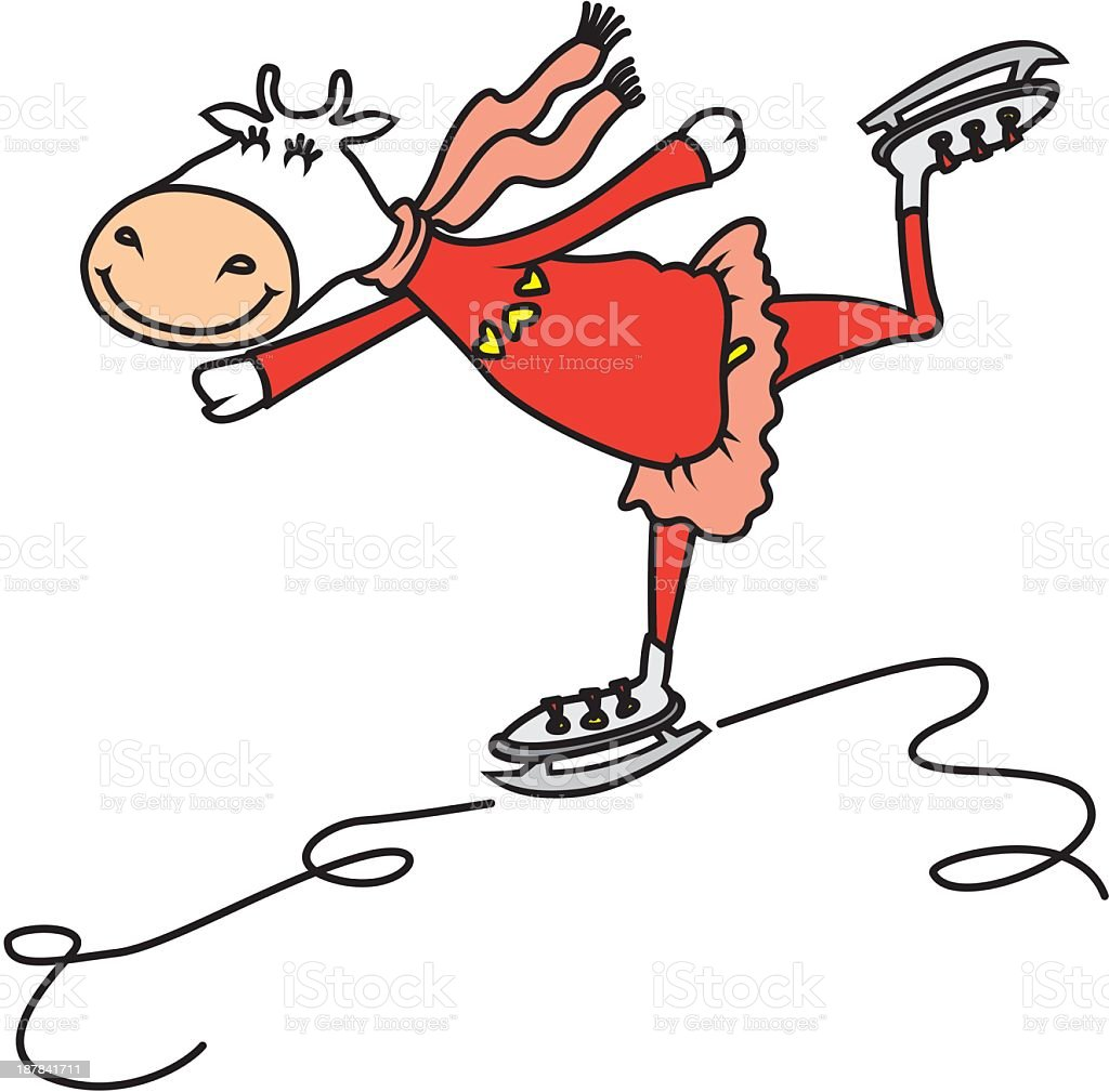 Skating Cow royalty-free stock vector art