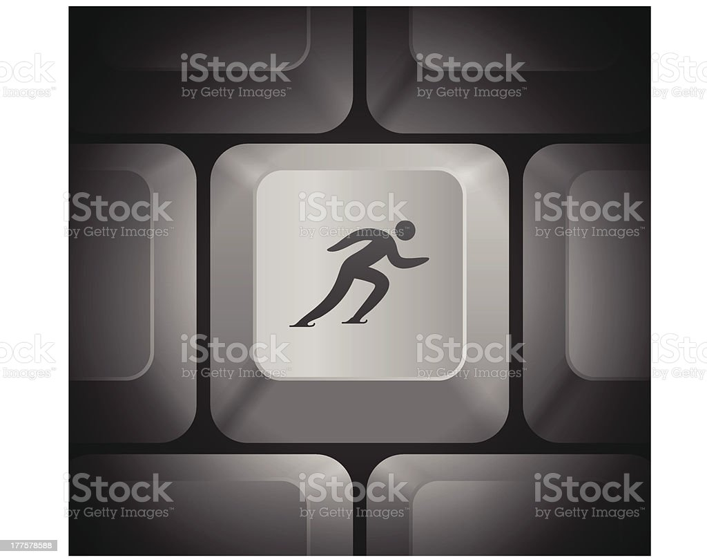 Skating Icon on Computer Keyboard royalty-free stock vector art