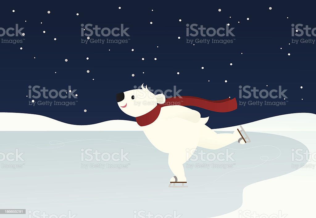 Skating Polar Bear royalty-free stock vector art