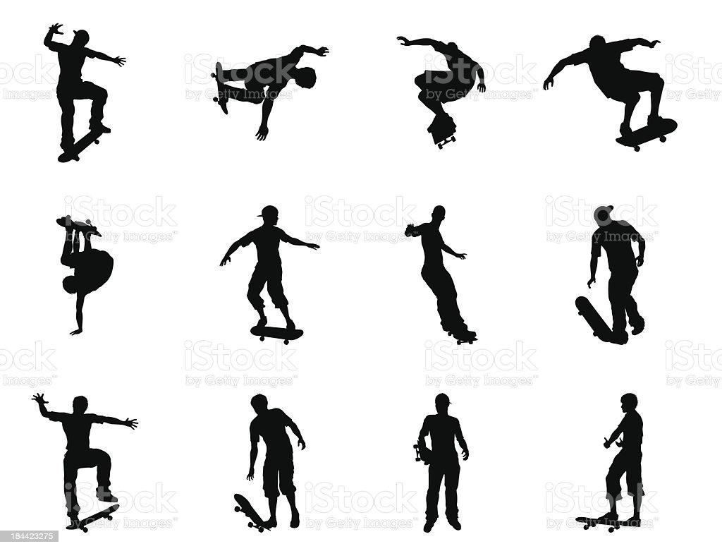 Skating skateboarder silhouettes vector art illustration