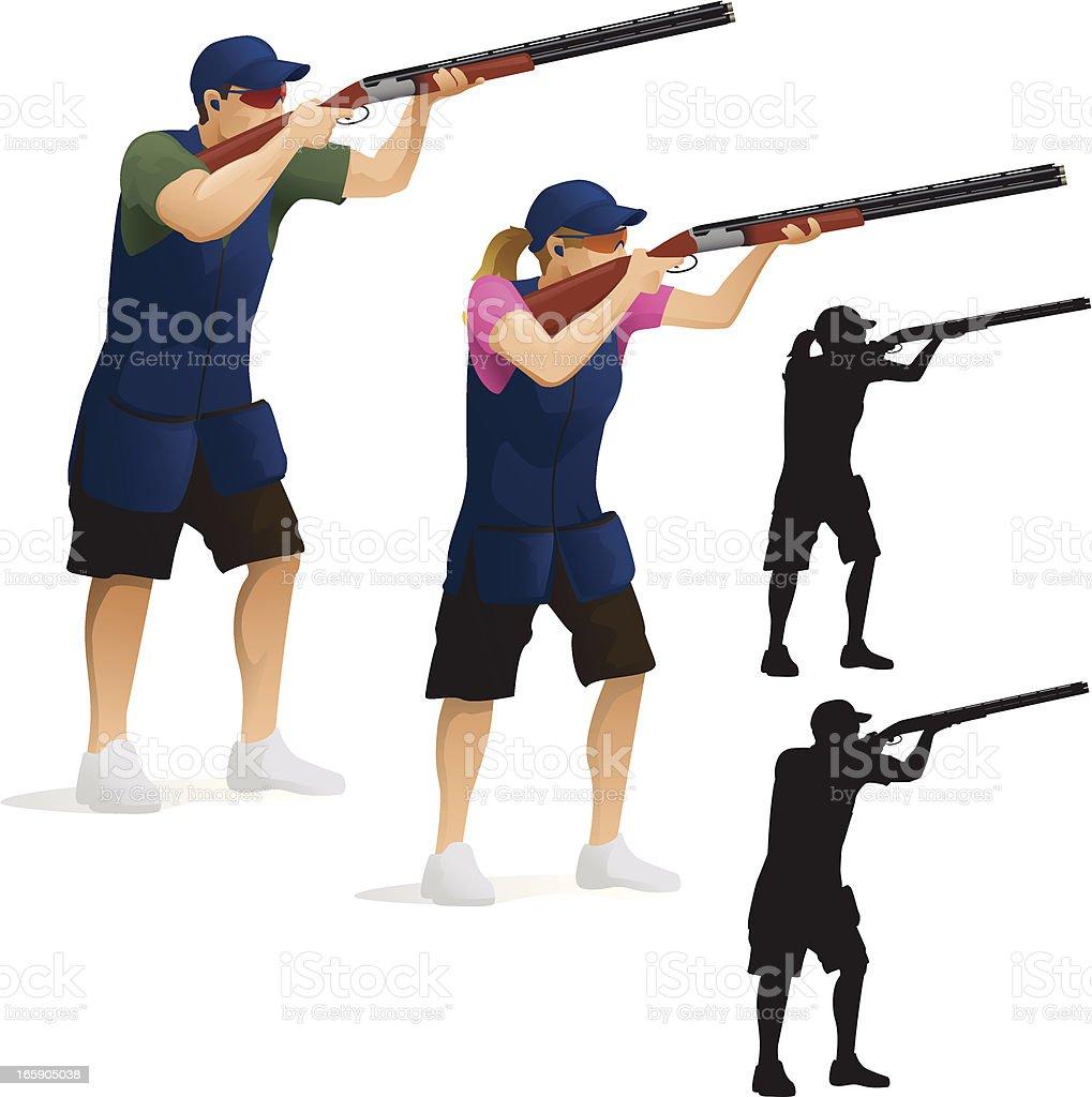 Skeet Shooting vector art illustration