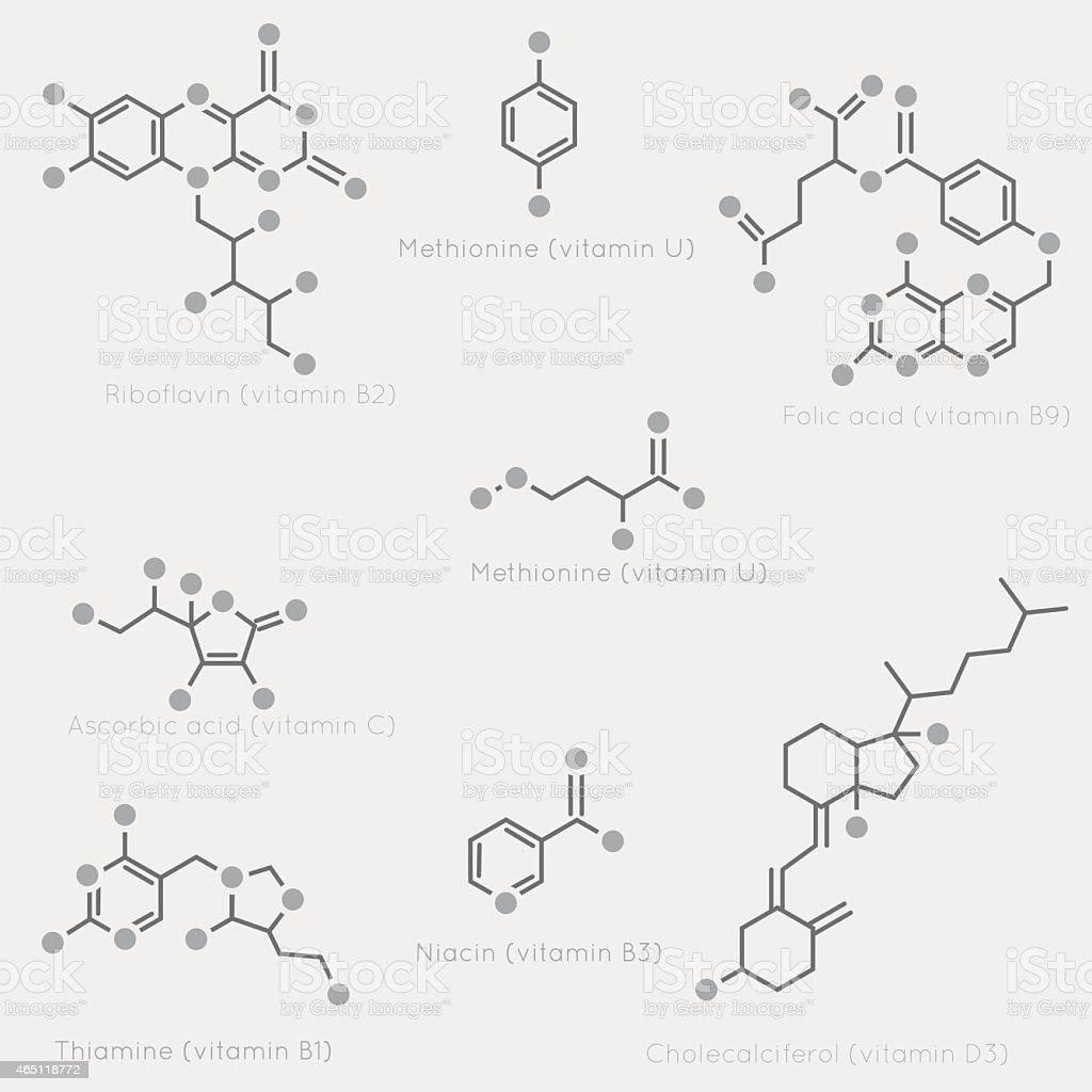 Skeletal formulas of vitamins vector art illustration