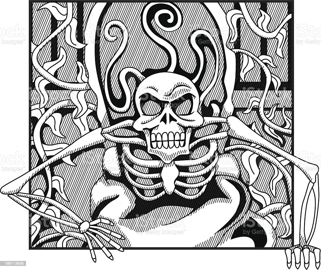 Skeleton coming out of grave royalty-free stock vector art