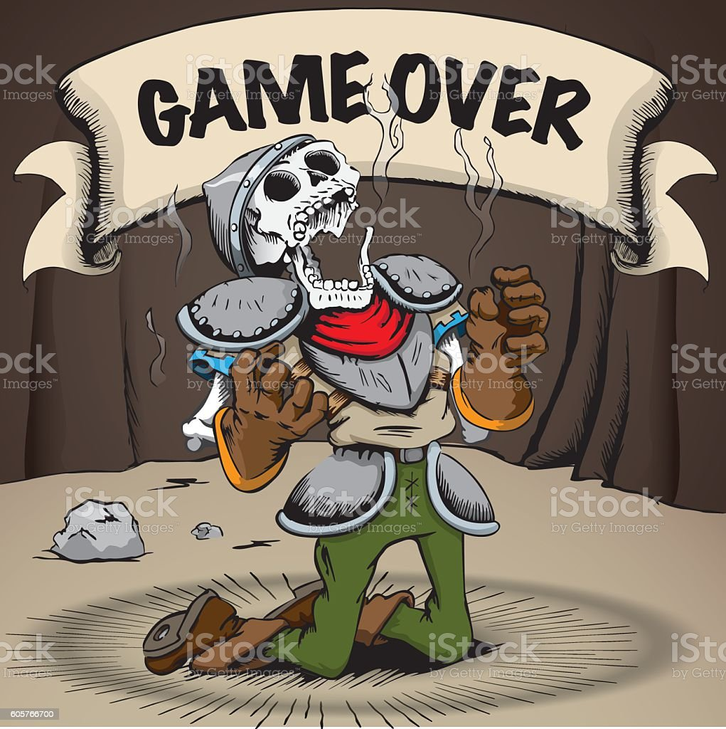 Skeleton dead knight with poster in the background inside cave vector art illustration