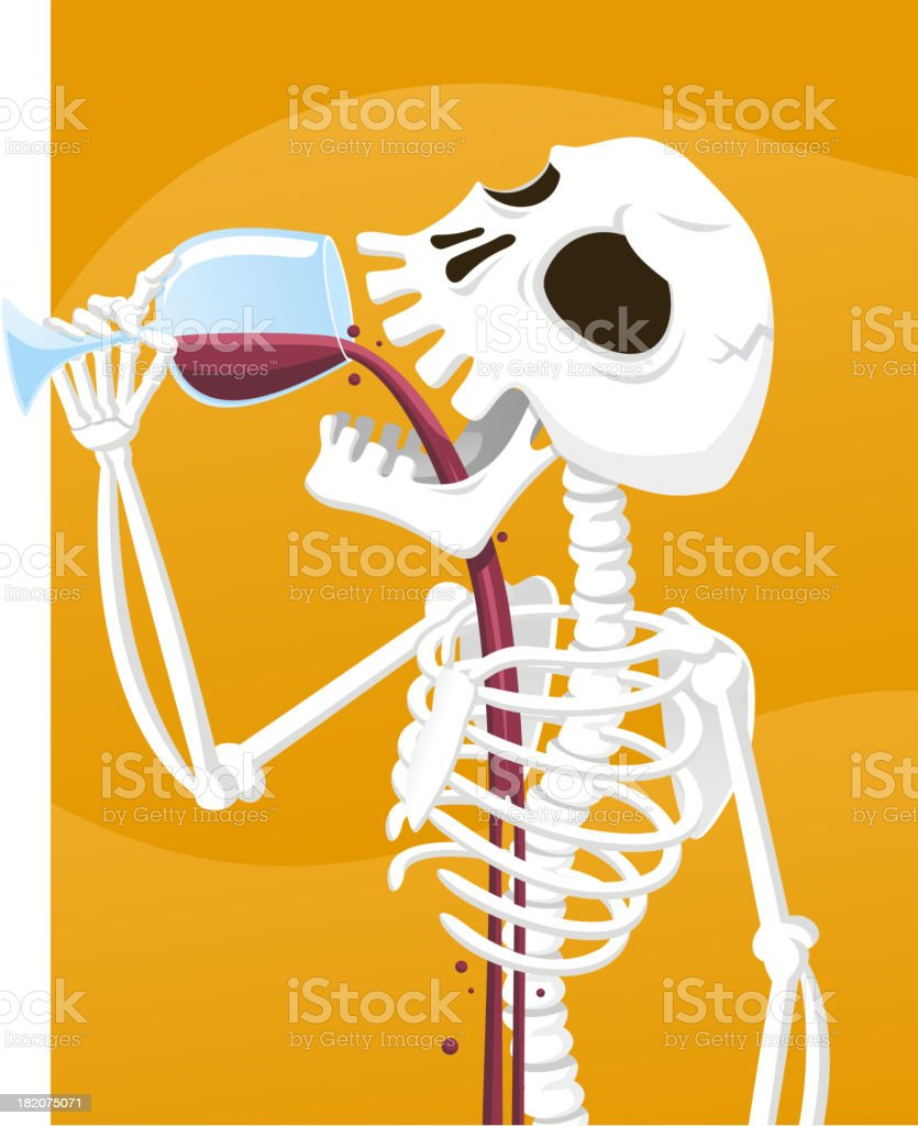 Skeleton Drinking Wine vector art illustration
