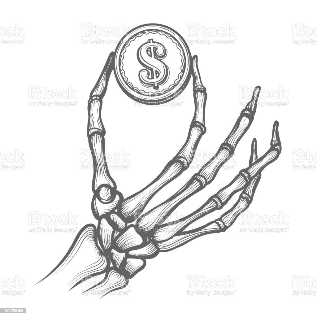 Skeleton hands with dollar coin vector art illustration