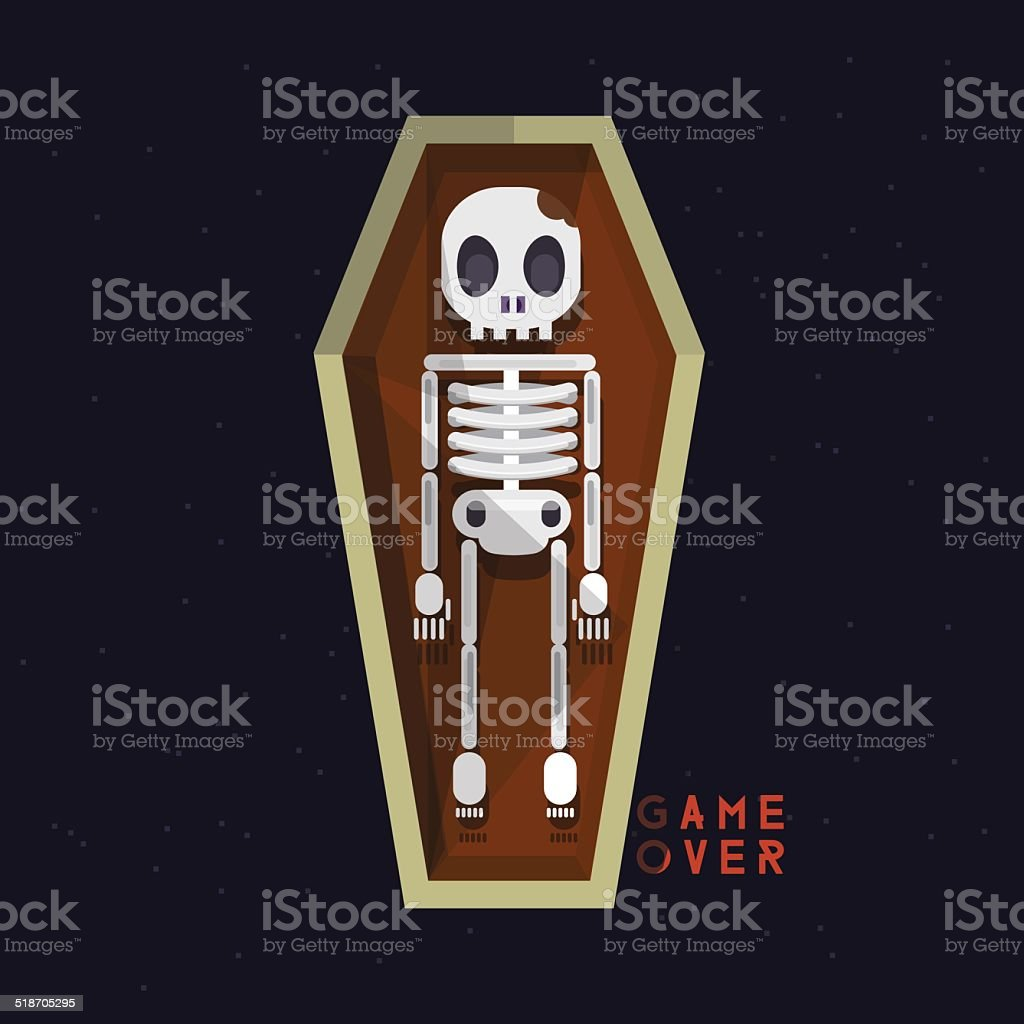 skeleton in coffin. death - vector illustration vector art illustration
