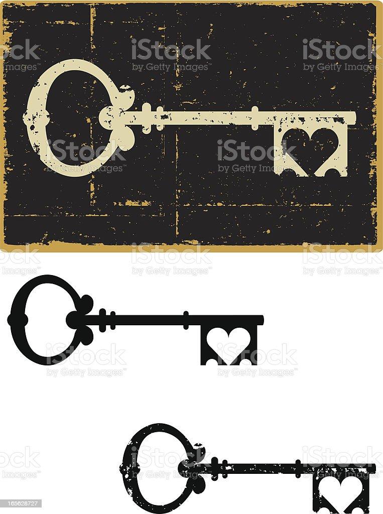Skeleton Key Heart vector art illustration