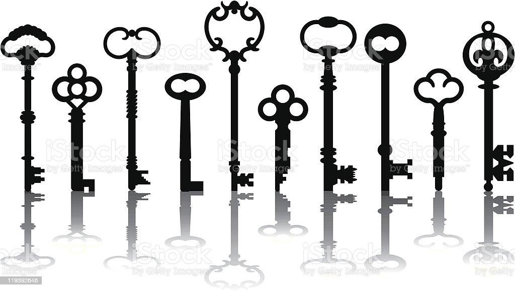 Skeleton Key Icons vector art illustration