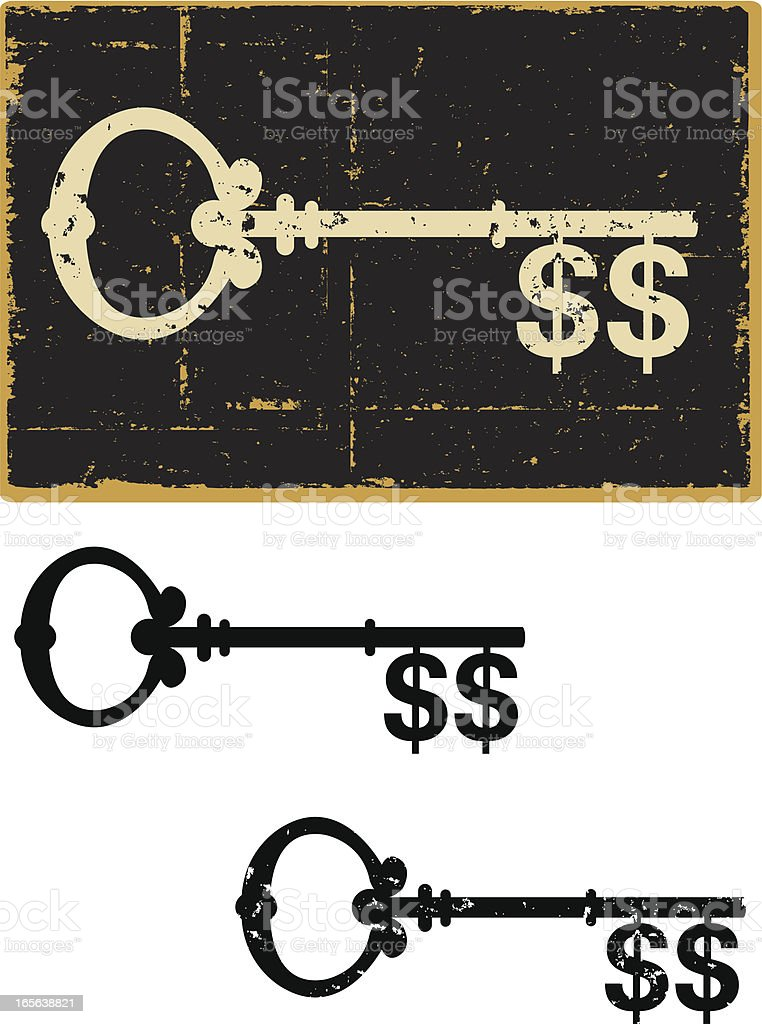 Skeleton Key Money royalty-free stock vector art