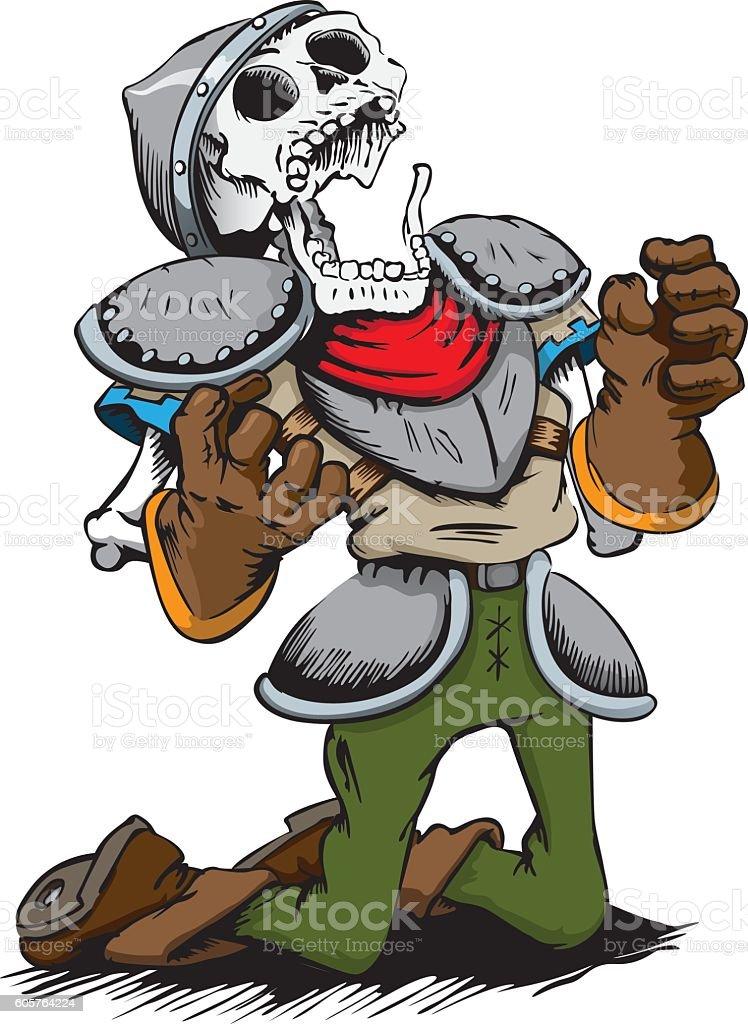 Skeleton of a dead knight dying knees vector art illustration