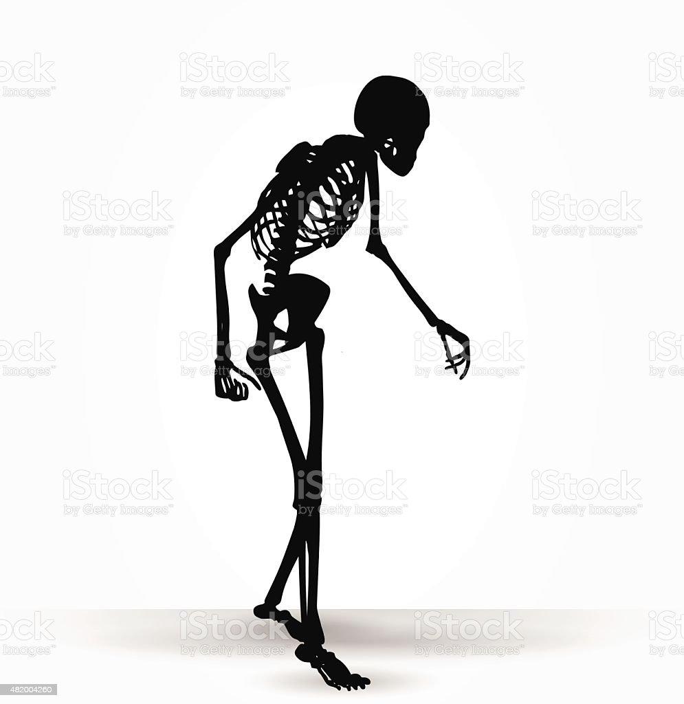 skeleton silhouette in old walk pose vector art illustration