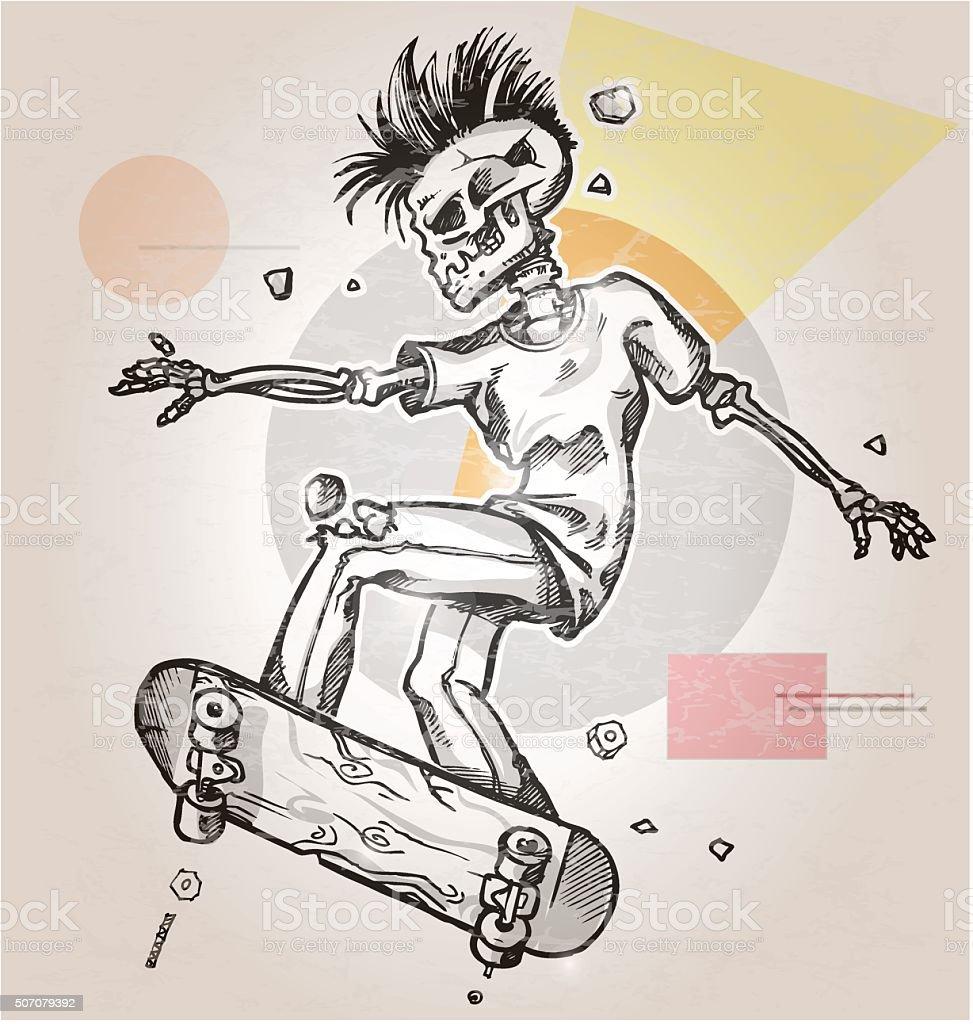 skeleton skater  on abstract retro background vector art illustration
