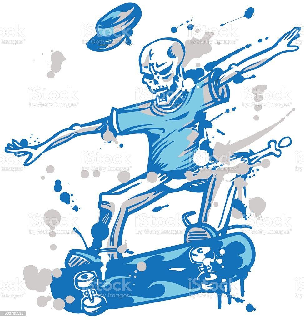 skeleton skater  on white background vector art illustration