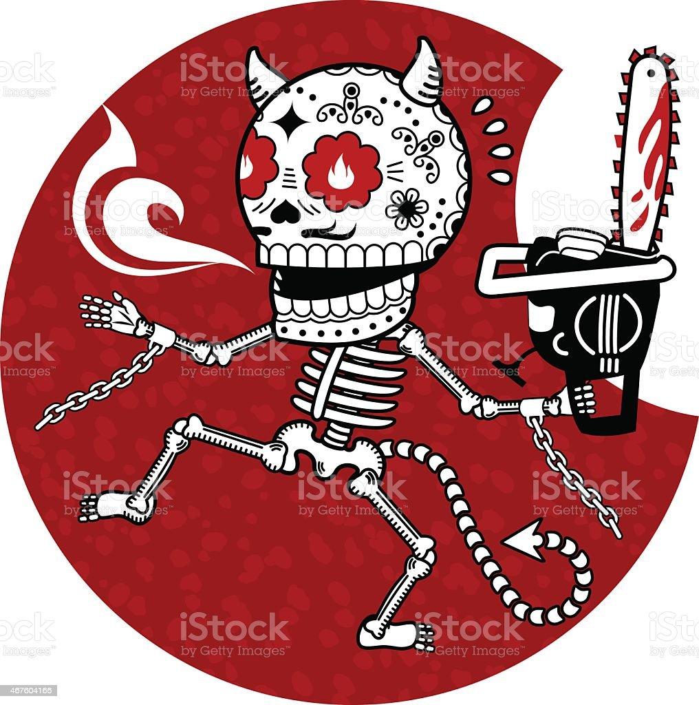Skeletons Infernal Massacre vector art illustration