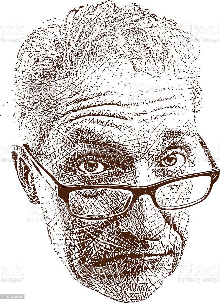Skeptical Expression Etching vector art illustration