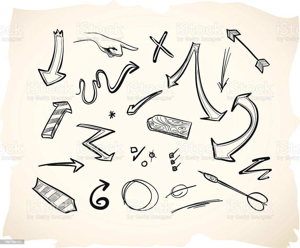 Sketch Arrows royalty-free stock vector art