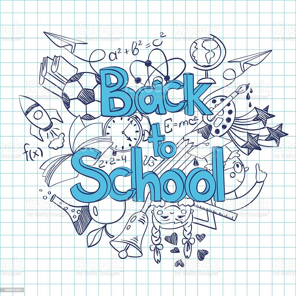 Sketch Back to School Background. vector art illustration