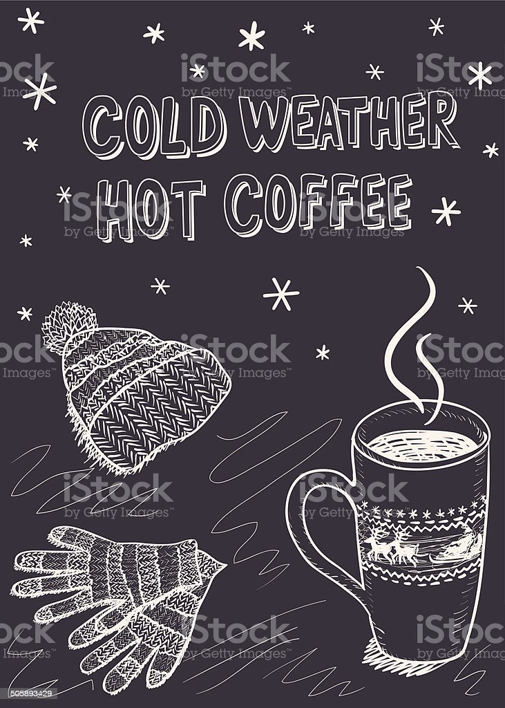 Sketch background for a winter coffee vector art illustration