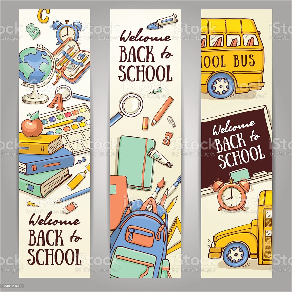 Sketch banner template with school object. vector art illustration