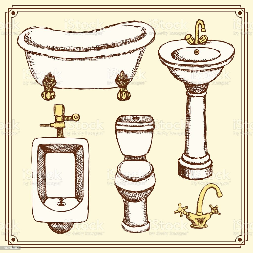 Sketch bathroom and toilet equipment in vintage style vector art illustration