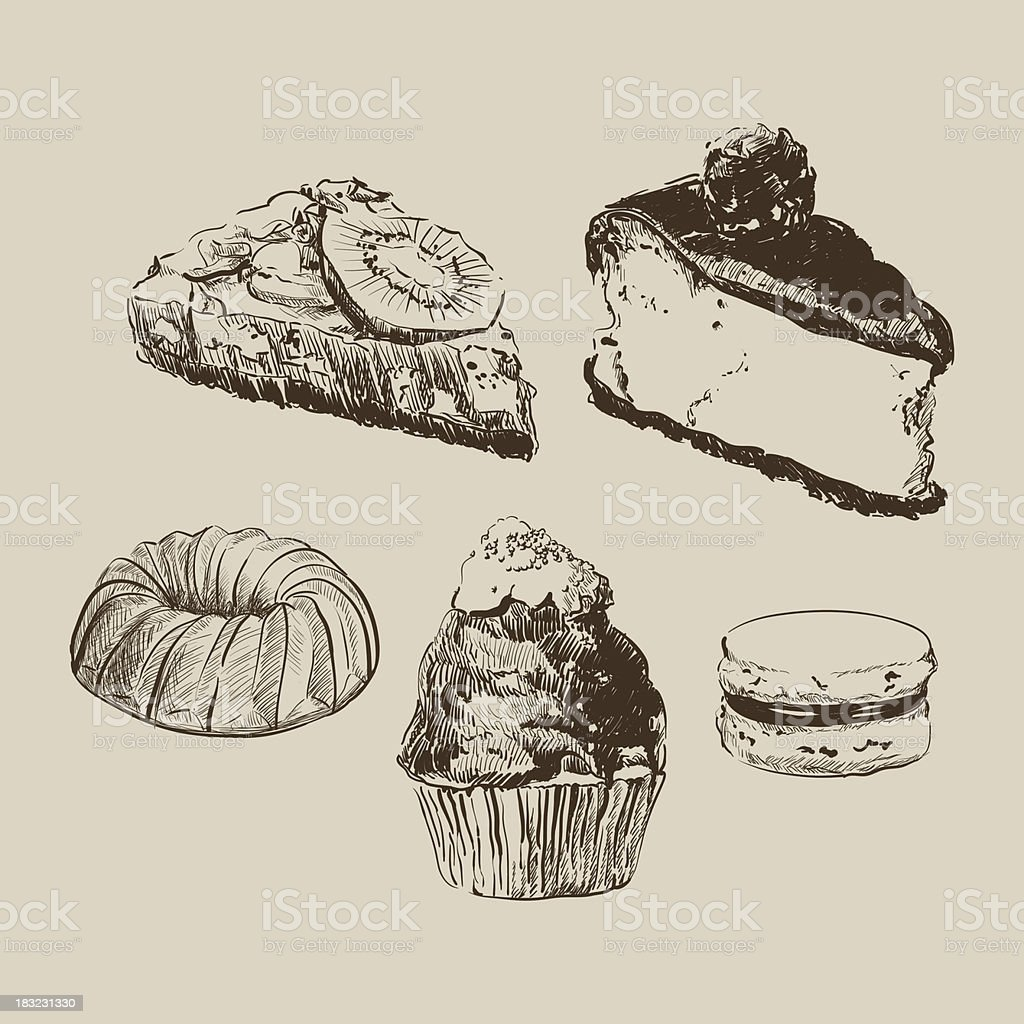Sketch cakes royalty-free stock vector art
