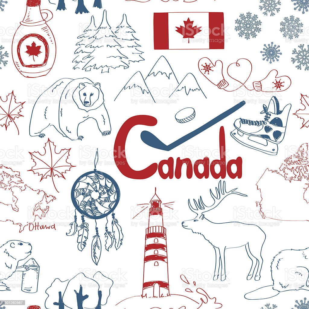 Sketch Canada seamless pattern vector art illustration