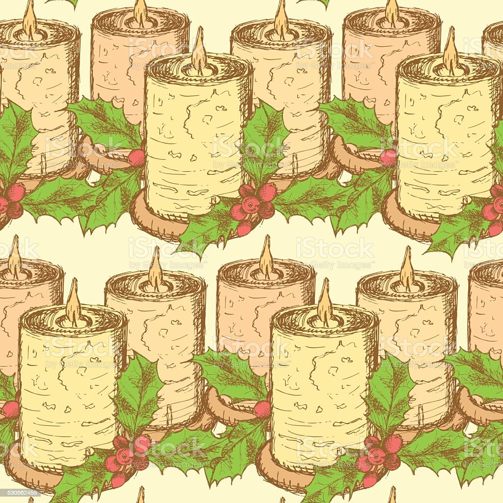 Sketch candle with mistletoe in vintage style vector art illustration