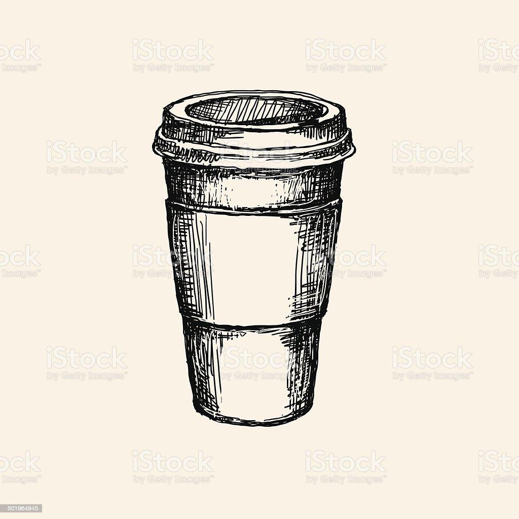 sketch coffee cup vector art illustration