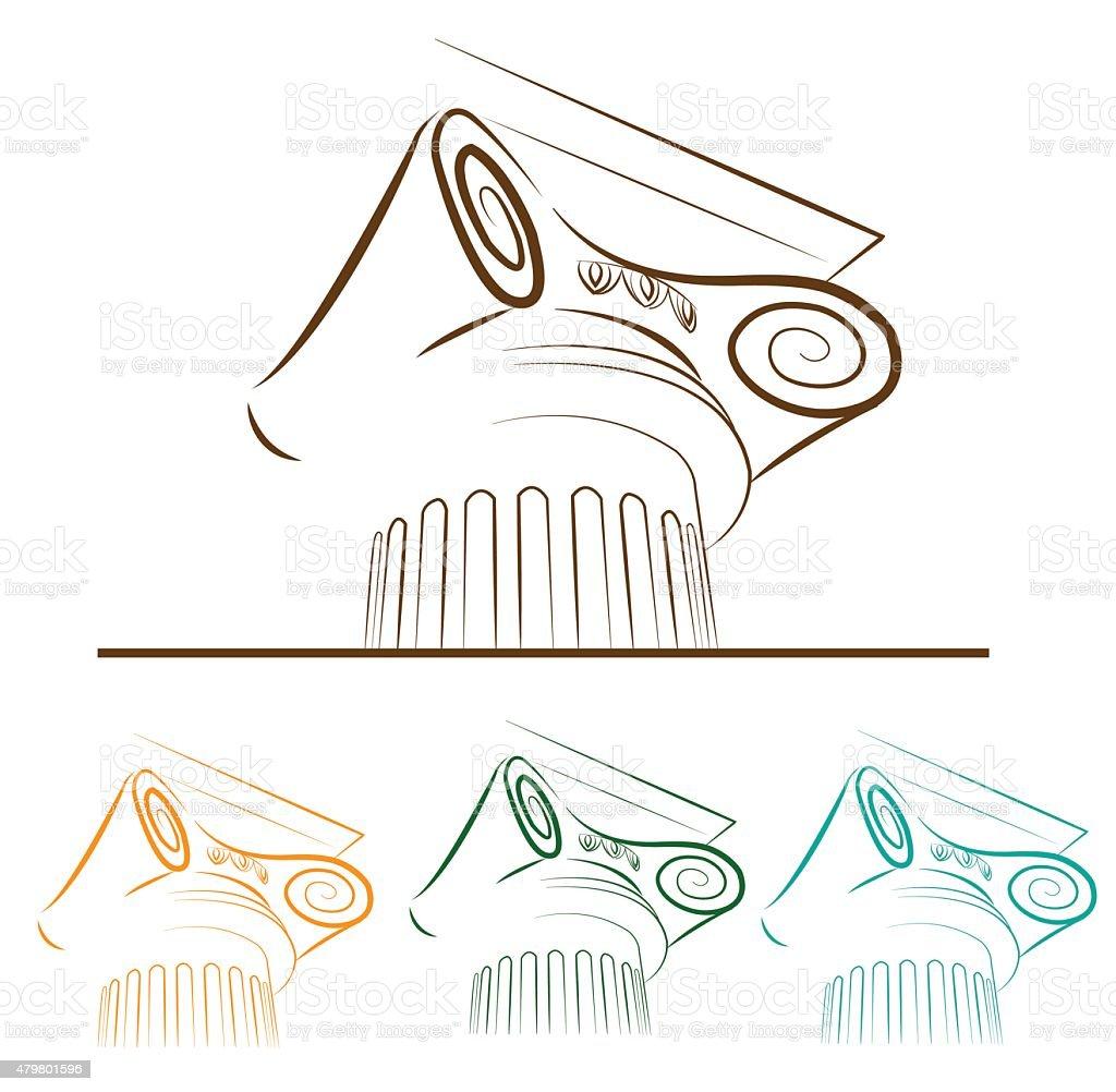 Sketch column. Architecture symbol. vector art illustration