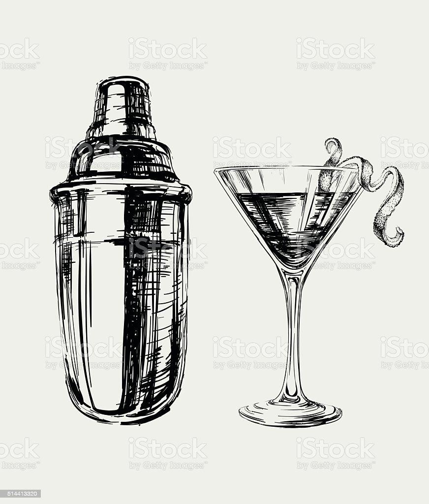 Sketch Cosmopolitan Cocktails and Shaker Vector Hand Drawn Illustration vector art illustration