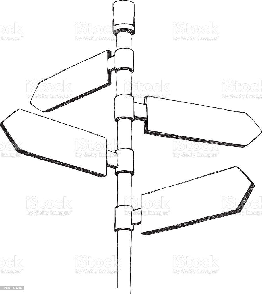 Sketch Directional Sign vector art illustration