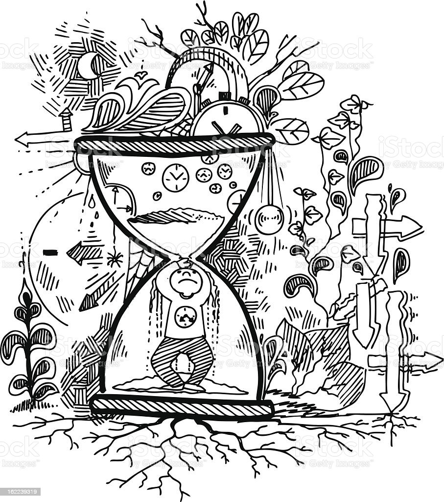 Sketch doodles: TIME vector art illustration