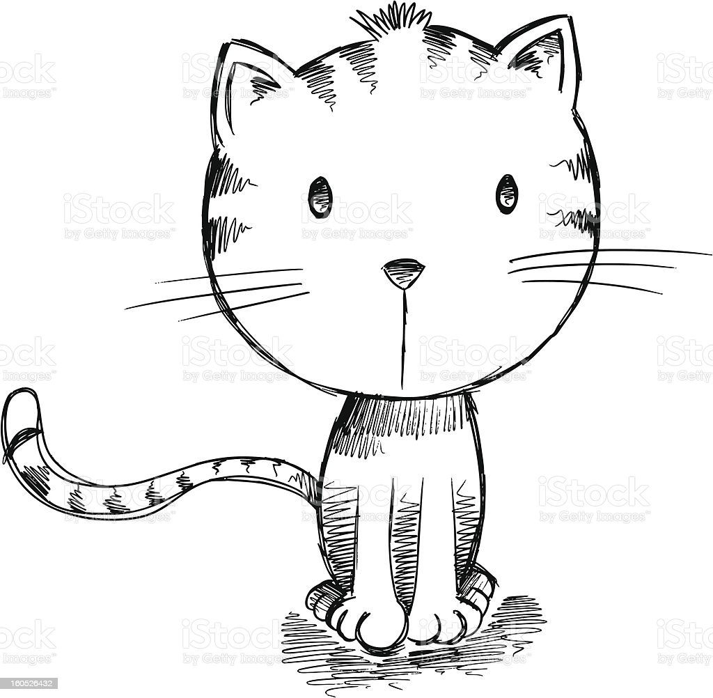Sketch Drawing Cat royalty-free stock vector art