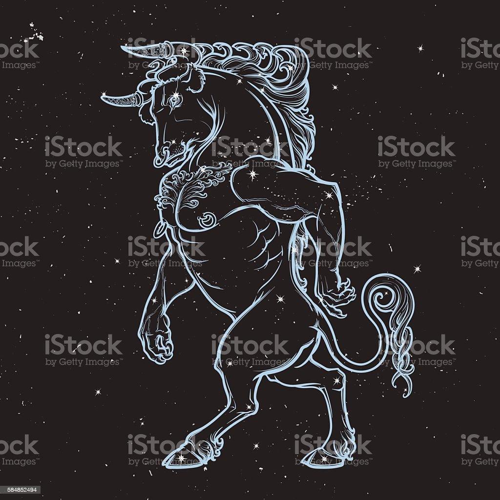 Sketch drawing of Minotaur. Night sky background. vector art illustration