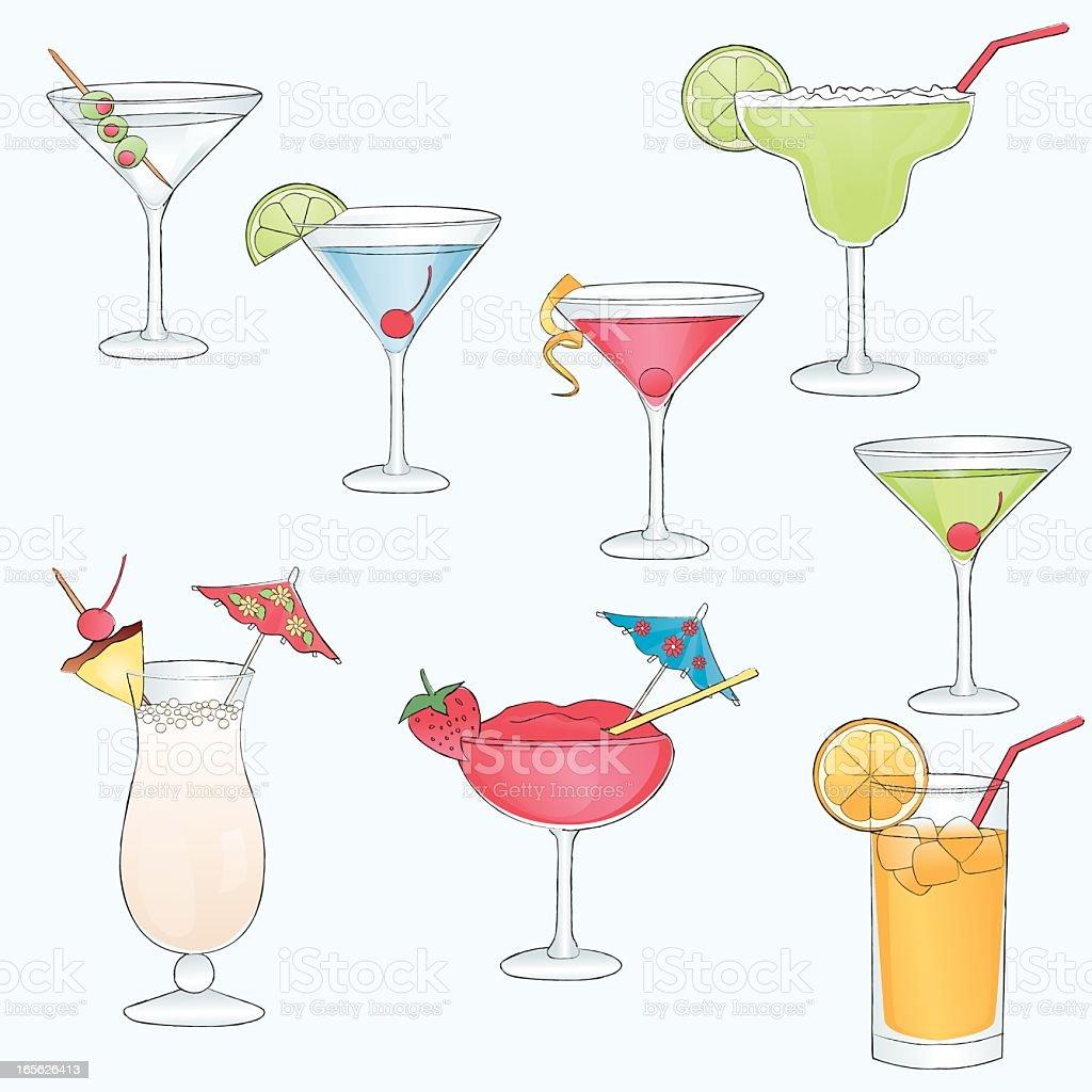 Sketch drawn cocktail drinks. vector art illustration