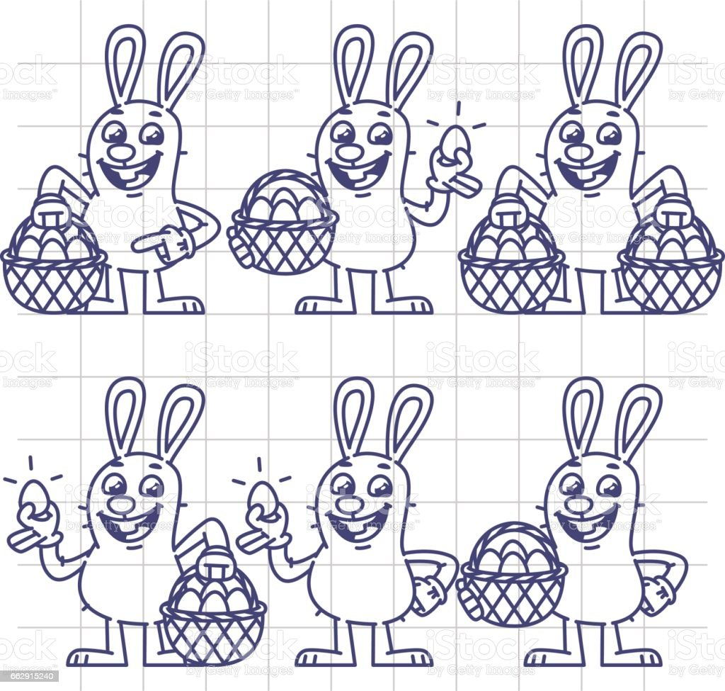 Sketch Easter Bunny Holding Egg And Basket Set Characters Royaltyfree Stock  Vector Art How To Draw