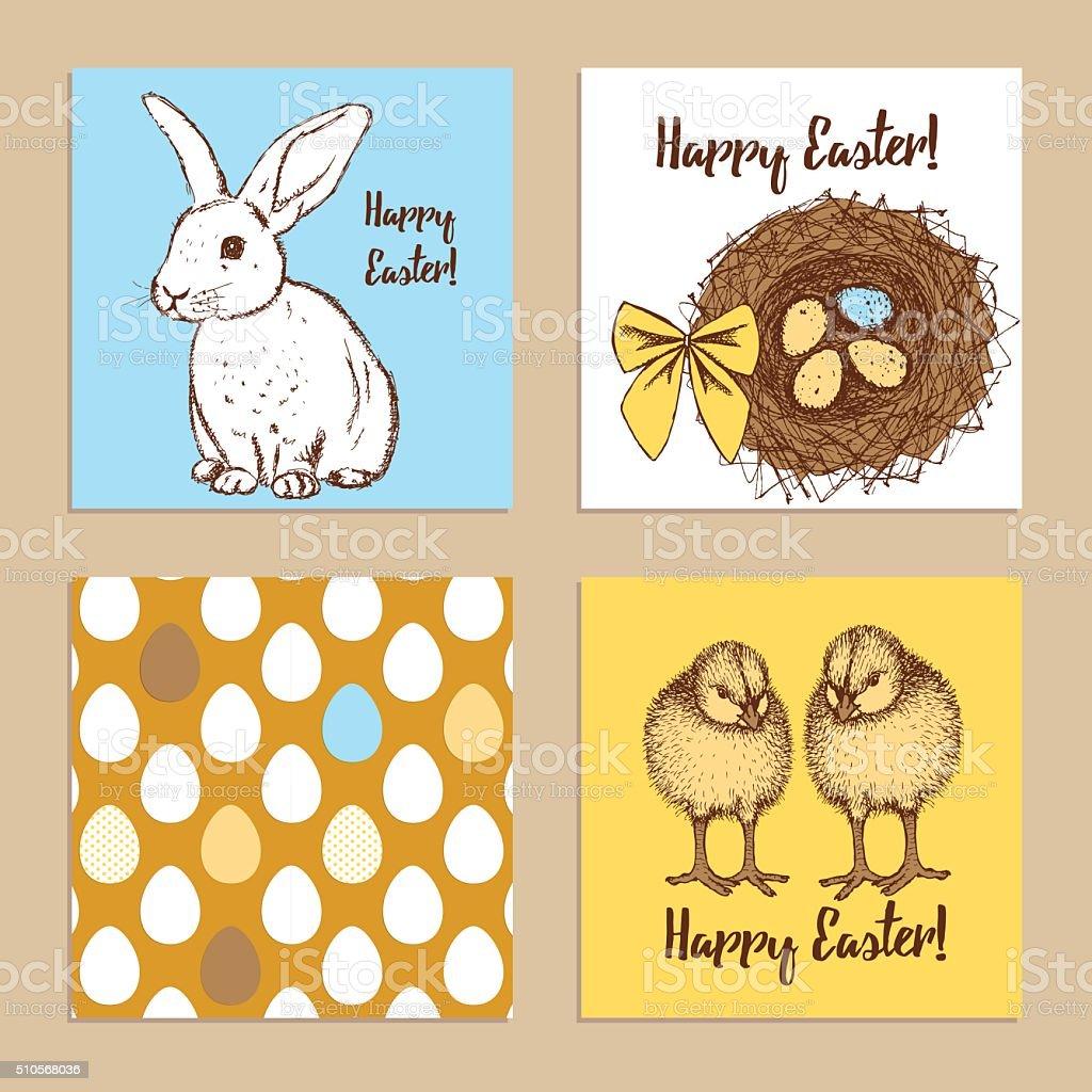 Sketch Easter posters set vector art illustration