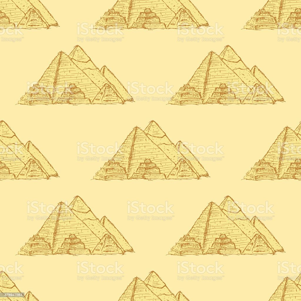 Sketch Egypt pyramids in vintage style vector art illustration