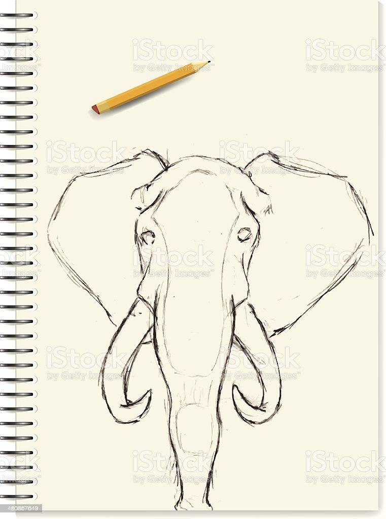 Sketch - Elephant royalty-free stock vector art