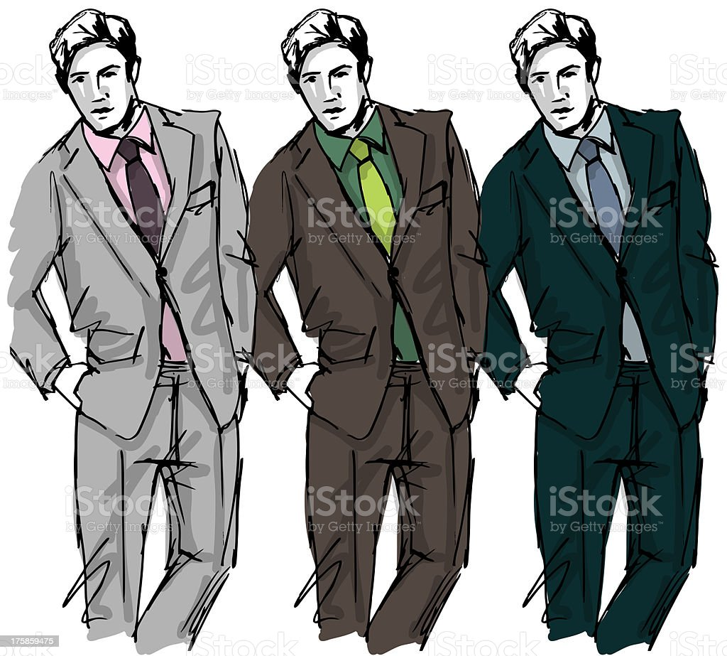 Sketch fashion & handsome business man royalty-free stock vector art