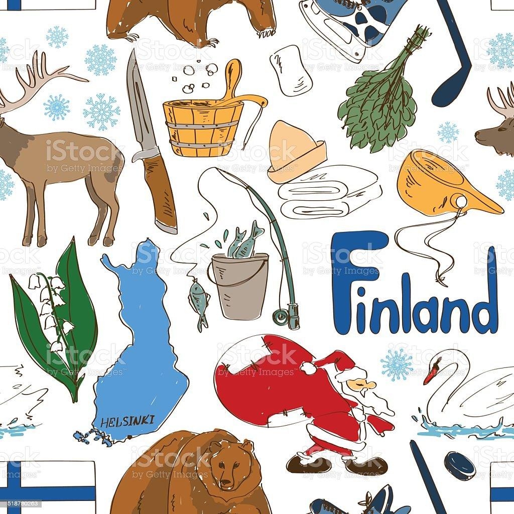 Sketch Finland seamless pattern vector art illustration