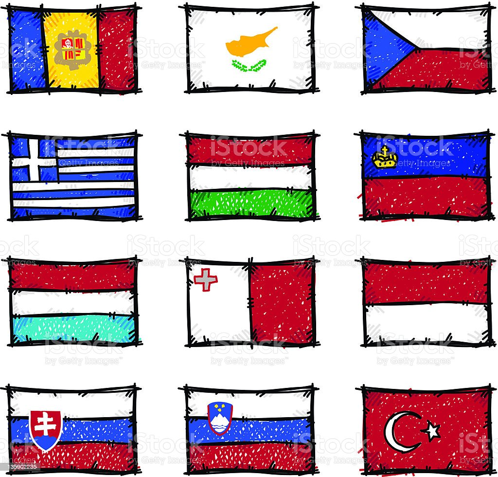 Sketch Flags stock photo