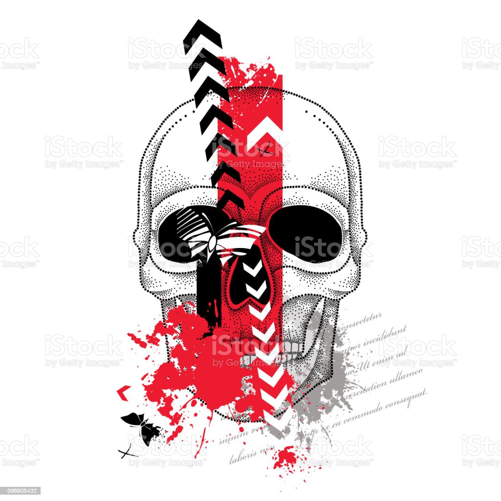 Sketch for tattoo in Trash-Polka and dotwork style with skull. vector art illustration