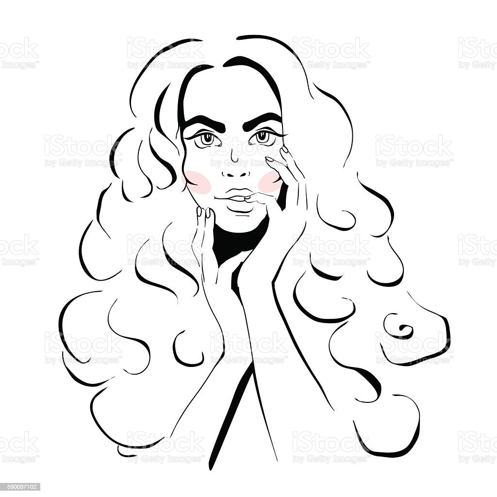 Sketch girl with curly hair. vector art illustration