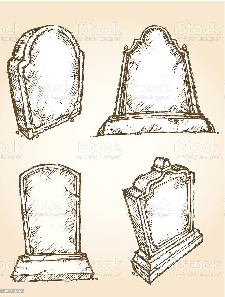Sketch Grave Stone Set vector art illustration