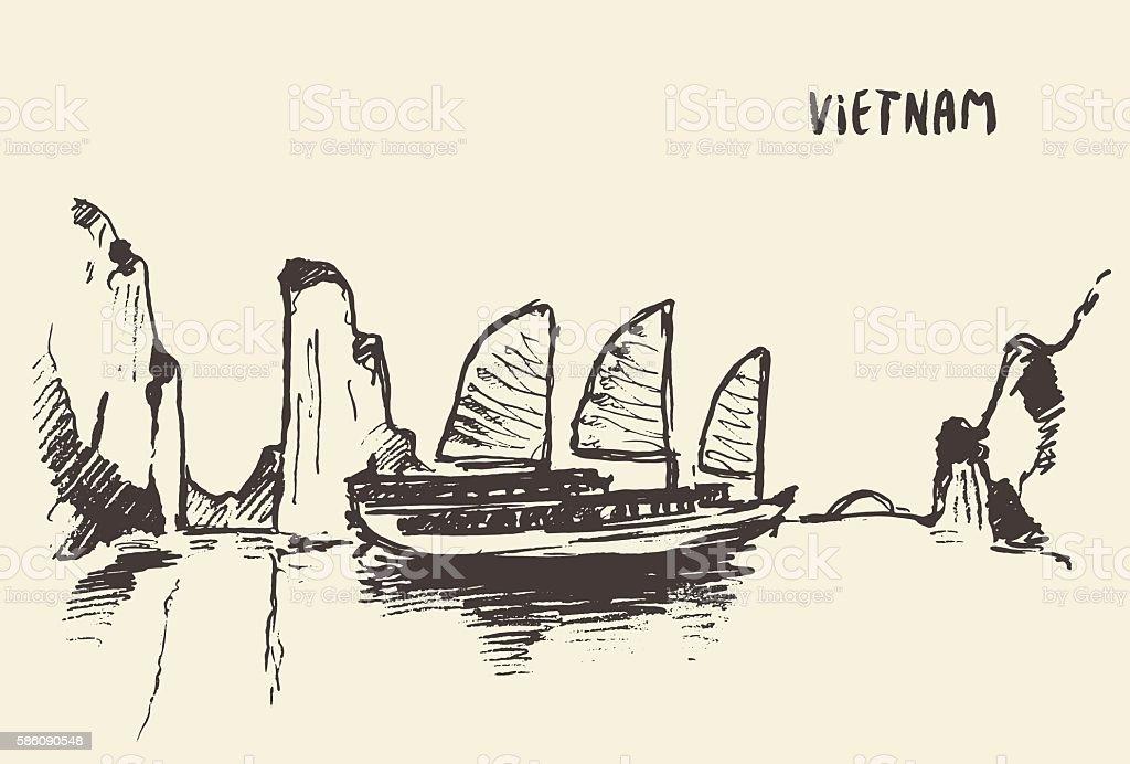 Sketch Halong Bay Vietnam Vector illustration. vector art illustration