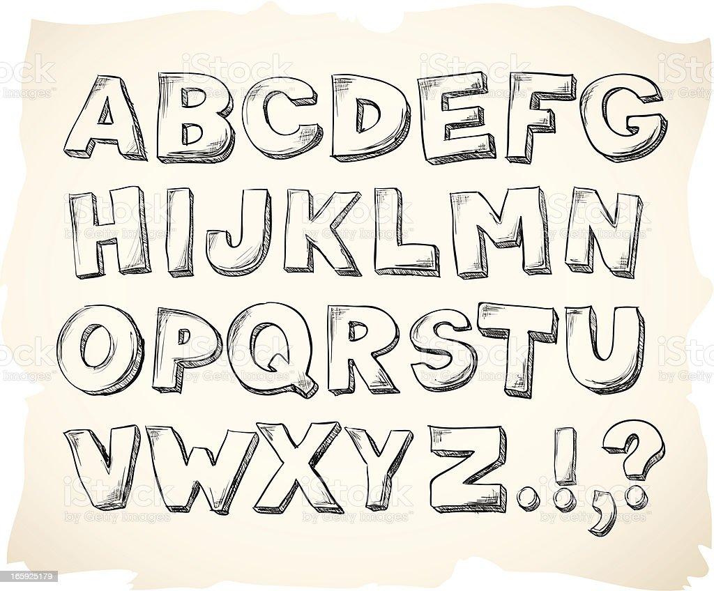Sketch hand drawn alphabet letters vector art illustration