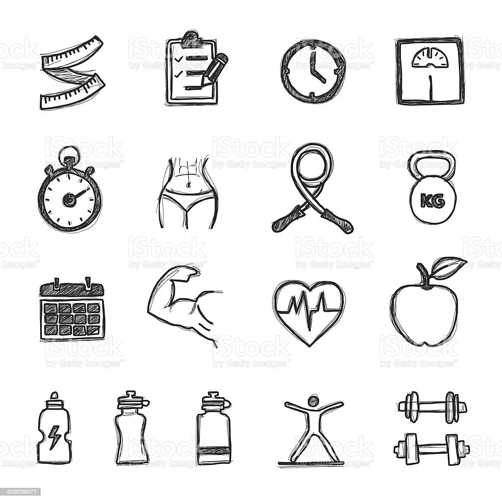 Sketch  Health Icons royalty-free stock vector art