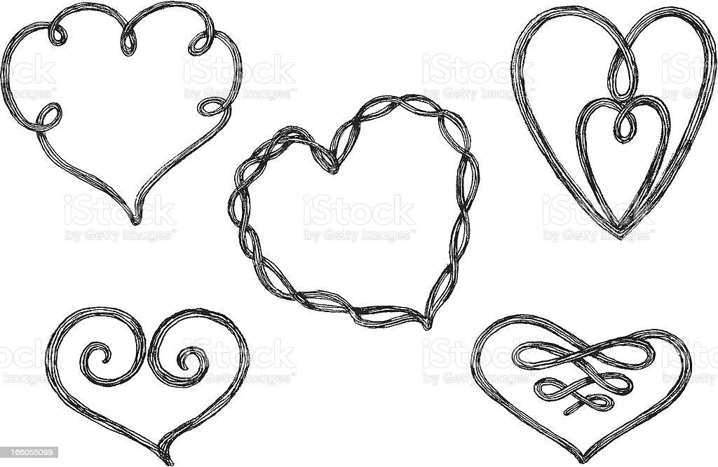 Sketch Heart Knots royalty-free stock vector art